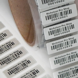 Foil bar code labels on a roll