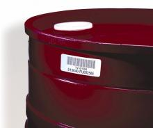 Durable asset labels on a barrel